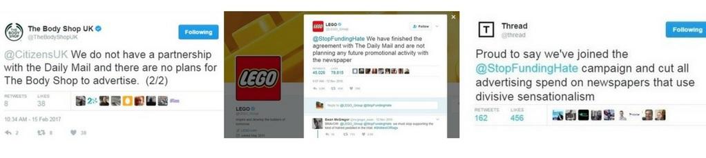 Body Shop, Lego and Thread tweets