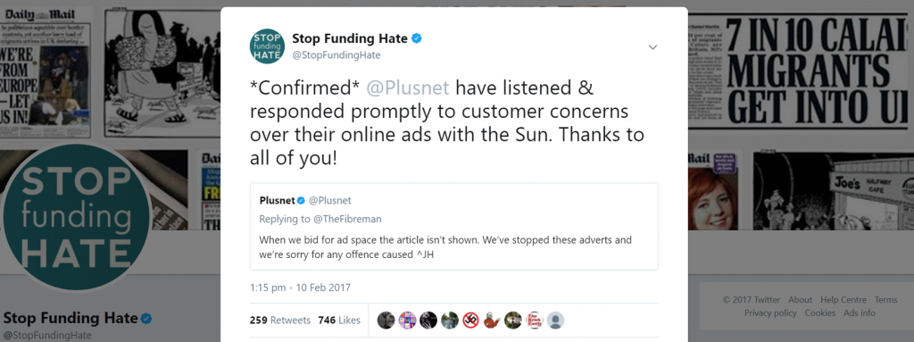 Tweet confirming Plusnet have stopped adverts on the Sun online