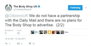 Body Shop tweet ending adverts in the Daily Mail