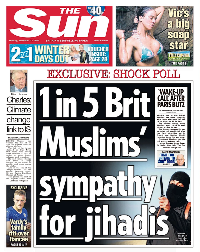 The Sun front page with the headline 1 in 5 Brit Muslims' Sympathy for Jihadis