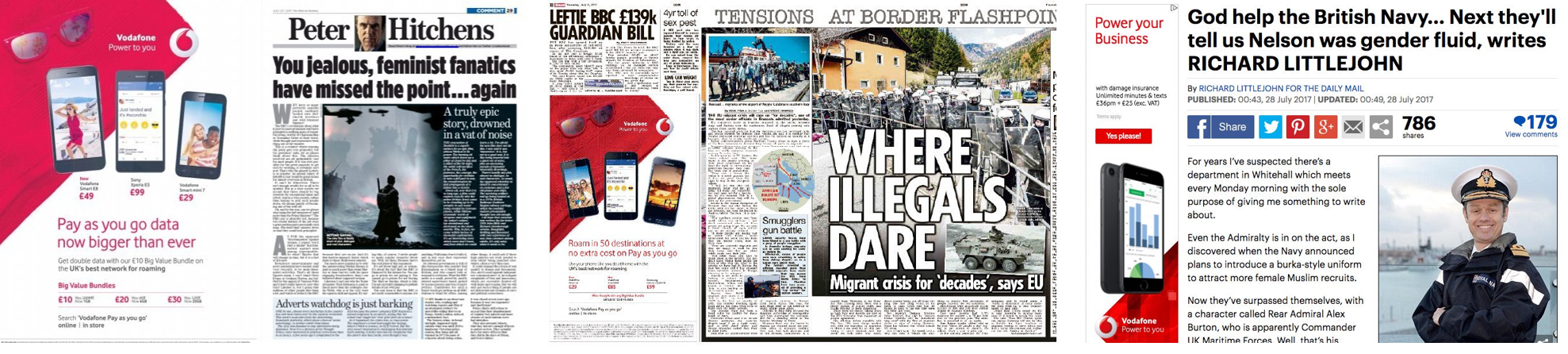 Three Vodafone adverts in the Daily Mail and the Sun